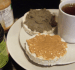 Dr. Vie Breakfast pumpkin seed butter, peanut butter, rice cake, herbal tea